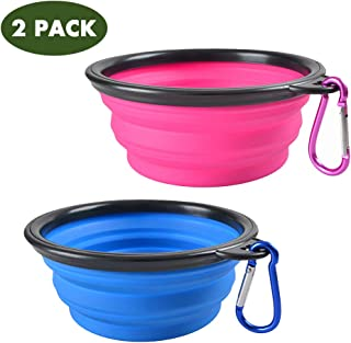 Popetz 2PACK Collapsible Dog Bowl, Portable Sillicone Travel Bowls for Dogs Cats, Foldable Pet Water Feeding Cup Dish with 2 Carabiners for Walking,13 oz