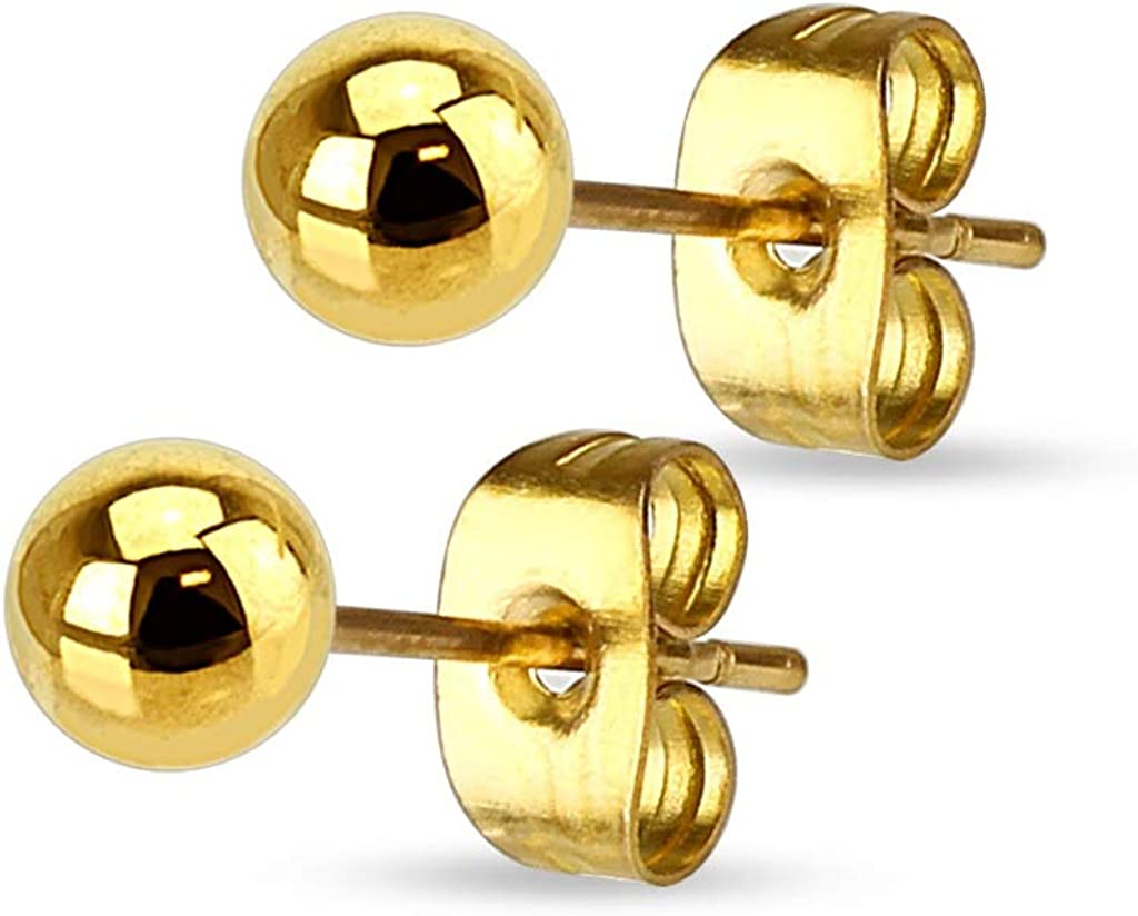 Pair of 316L Stainless Steel Hallow Ball Earrings (IP Gold)