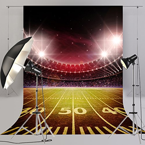 Night Football Field Photography Backdrop 5x8ft Sport Stadium Photo Booth Background for Party Pictures,Table Decor,Bedroom Hanging FT-4266