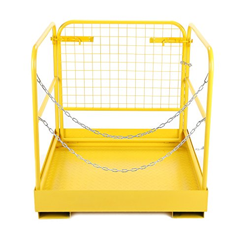 CO-Z Heavy Duty Forklift Safety Cage Steel Work Platform 749 lb Capacity, 36x36 Inch, Forklift Attachment Aerial Platform Man Cage Basket (Foldable Design)