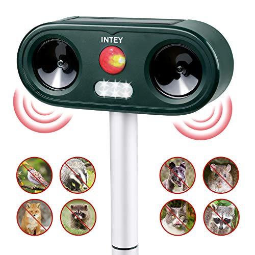INTEY Répulsif Chat Ultrason, Répulsif Animaux Alarme Sonore et Visuelle, Charge de Solaire ou de Batterie, Répulsif Étanche avec 5 Fréquence Réglables pour Chats, Chiens, etc