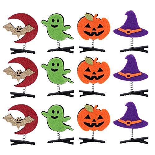 Lurrose - 12 pinzas para el pelo de Halloween, diseño de calabaza, diseño de murciélago, accesorios para el pelo, accesorio para fotos, disfraz para niñas y adultos