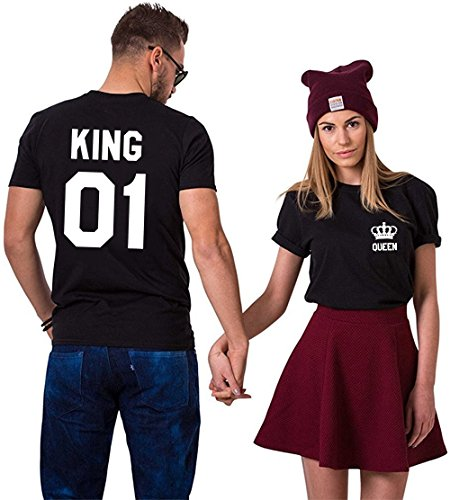 King Queen Shirts - Juego de 2 camisetas de manga corta para dos rey reina Negro y negro. Rey-Medium+Reina-Medium