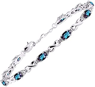 "Stunning Simulated Alexandrite/Mystic Topaz & Diamond XOXO Hugs & Kisses Tennis Bracelet Set in Sterling Silver - Adjustable to fit 7"" - 8"" Wrist"