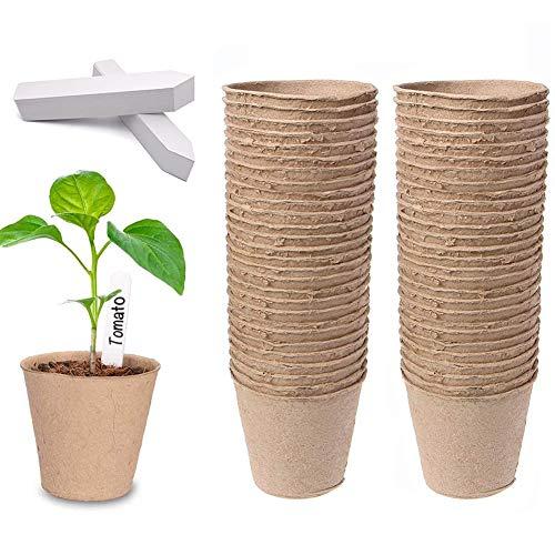 Dsaren 100 Piezas 8cm Macetas Biodegradables Redondas Fibra Macetas Turba Semilleros con 100...