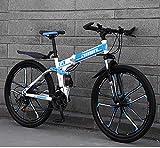 ZHTY Bicicleta de montaña Bicicletas Plegables, 26 Pulgadas, 24 velocidades, Freno de Disco Doble, suspensión Completa, Antideslizante, Cuadro liviano, Horquilla de suspensión, Bicicleta de montaña