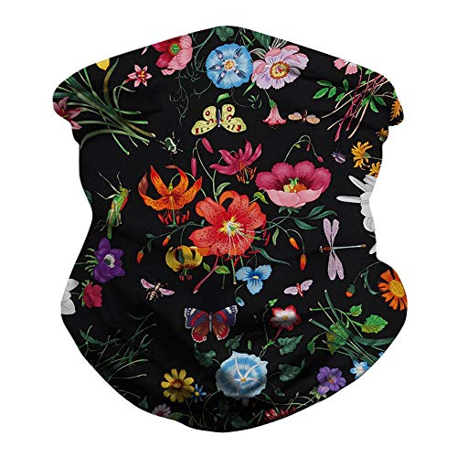 Unisex Floral Face Cover Scarf Bandana Seamless Rave Neck Sports Tube Gaiter for Women Men Wide Sun UV Multifunctional Magic Headwear Headwrap Beanie for Dust Wind Outdoors Red Flower One Size