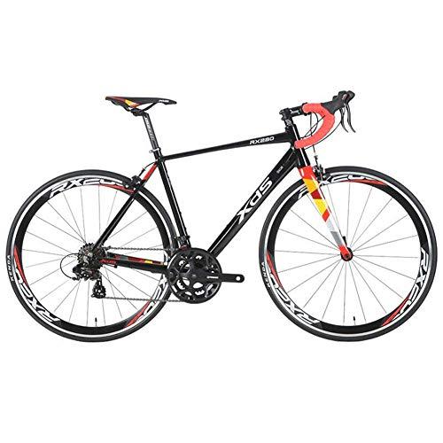 Xiaoyue 14 Speed Rennrad, Männer Frauen Leichtes Aluminium-Rennrad, Erwachsener Stadt-Pendler-Fahrrad, Anti-Rutsch-Bikes, Grau, 480MM lalay (Color : Black, Size : 460MM)