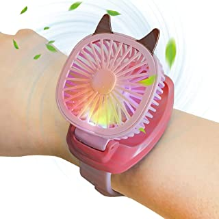 Mini Portable Wrist Fan , Kids Watch Fan with Wrist Strap Colorful LED Light Three-speed USB Charging Gift for Kids or Adults (Pink)