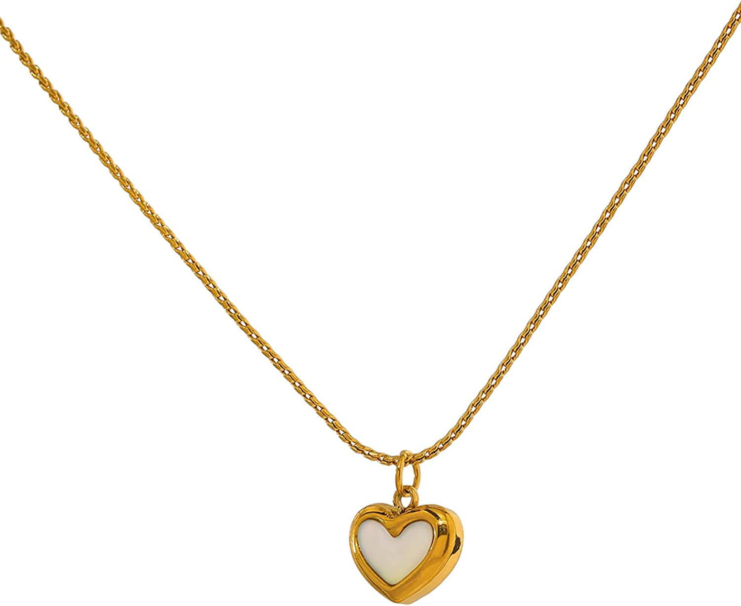 SWAOOS Cute Heart Natural Shell Pendant Necklace 18 K Plated Stainless Steel Collar Necklace Gift Jewelry