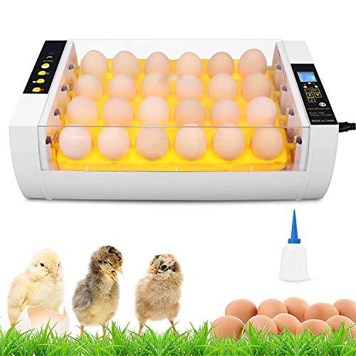 Couveuse Incubateur 24 œufs Automatique avec Lumières LED, Contrôle de la Température et Retourner les œufs Automatique, Incubateur Automatique pour Couver Poule, Canard, Caille