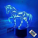 Veilleuses pour enfants Cheval Illusion 3D Lampe de chevet 16 couleurs changeantes avec télécommande Meilleurs cadeaux d'anniversaire pour enfant bébé garçon et fille