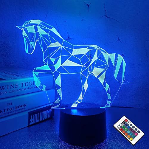 Nachtlichter für Kinder Pferd Illusion 3D Nachttischlampe Auto 16 Farben ändern mit Fernbedienung Beste Geburtstagsgeschenke für Kinder Baby Jungen und Mädchen