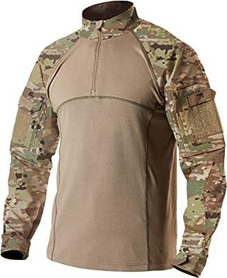 CQR Men's Combat Shirt Tactical 1/4 Zip Assault Long Sleeve Military BDU Shirts Camo EDC Top, Combat Shirts(tos201) - Multi Terrain, Large