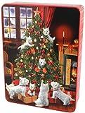 Bramble Foods - Árbol de Navidad en relieve de lata de metal con una variedad de galletas inglesas - 1 x 300 gramos