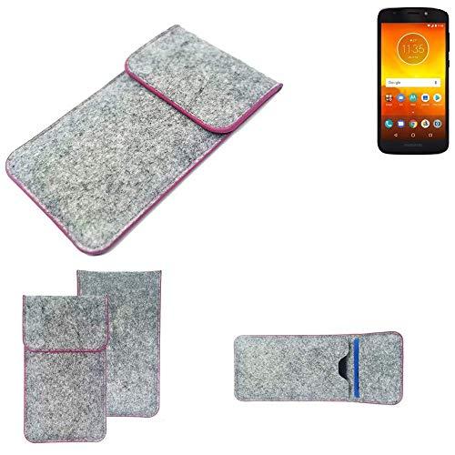 K-S-Trade Handy Schutz Hülle Für Motorola Moto E5 Dual SIM Schutzhülle Handyhülle Filztasche Pouch Tasche Hülle Sleeve Filzhülle Hellgrau Pinker Rand
