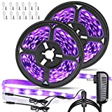 33ft LED Black Light Strip Kit, 600 Units,390nm-400nm,12V Flexible Blacklight Fixtures,10M LED Ribbon, Non-Waterproof for Indoor Fluorescent Dance Party, Stage Lighting, Birthday,Wedding,Dark Party