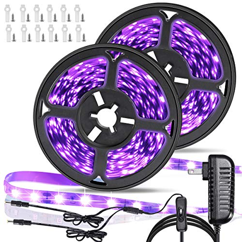 33ft LED Black Light Strip Kit, 600 Units UV Lamp Beads,390nm-400nm,12V Flexible Blacklight Fixtures, Non-Waterproof for Indoor Fluorescent Dance Party, Stage Lighting, Birthday,Wedding,Dark Party