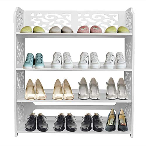 LeafRed C Wood-Plastic Board Four Tiers Carved Shoe Rack White B Shelves, Space Saver for Home, Office