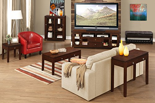 Simpli Home Cosmopolitan SOLID WOOD Universal TV Media Stand, 48 inch Wide, Contemporary, Storage Cabinet with Glass Doors, for Flat Screen TVs up to 55 inches Coffee Brown