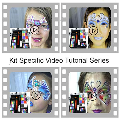 Face Paint Kit for Kids by Kryvaline Professionals with Stencils,...