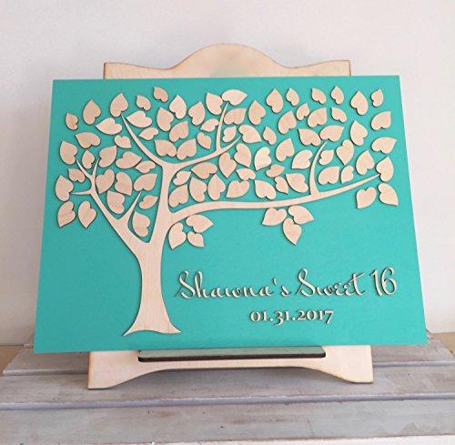 aqf528056 Sweet 16 Gästebuch Fledermaus-Bar Mitzwa Geburtstag oder Baby Taufe Baum der Wünsche...