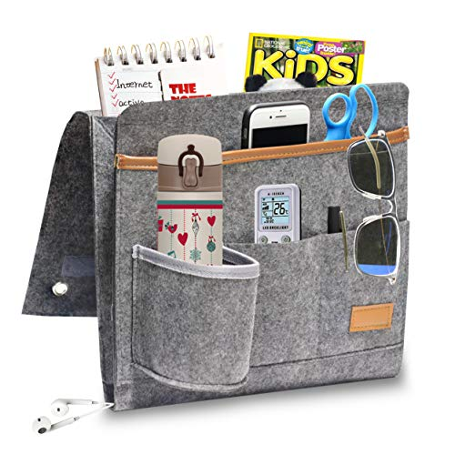 Hbsite Bolsa de Almacenamiento de Fieltro con Bolsillos, Organizador Colgante de Doble Capa para sofá, DVD, revistas, tabletas, Controles remotos, etc. (Nuevo Gris)