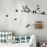 Malloom® Ramo Di Albero Adesivi Murali Di Arte Muro Di Carta Affresco Uccello Nero Vinile Smontabile Decalcomania Casa