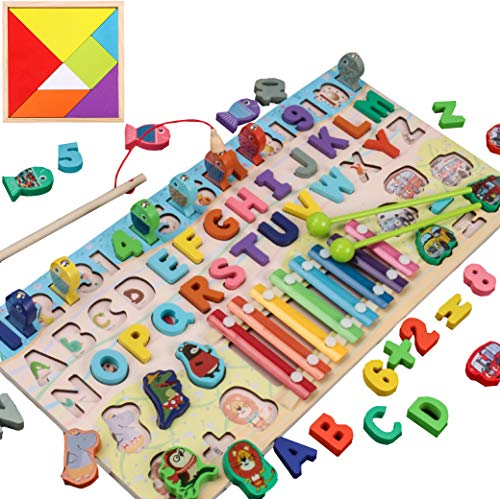 62 Piezas-Juguete de madera educativo Montessori 6 en 1-Tablero de Conteo Numérico, letras, formas-Tablero de aprendizaje de madera-Juego de Pesca-Xilófono Juguetes para Niños + Tangram Puzzle +3 años