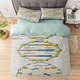 Juego de funda de edredón, diseño colorido de ADN Genetic Code Aminoácidos Nucleótidos Scientifi, juego de cama de 3 piezas (1 funda de edredón + 2 fundas de almohada), multicolor
