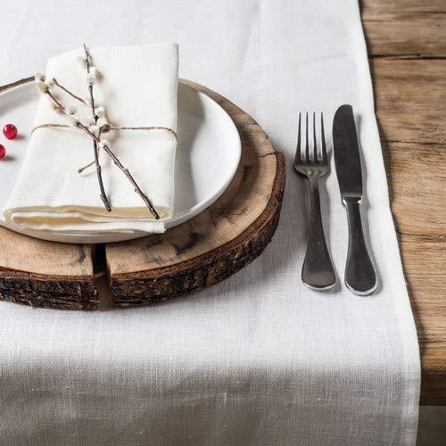 Linnen tafelloper - loper - tafelband - kleur wit - 45 x 150 cm