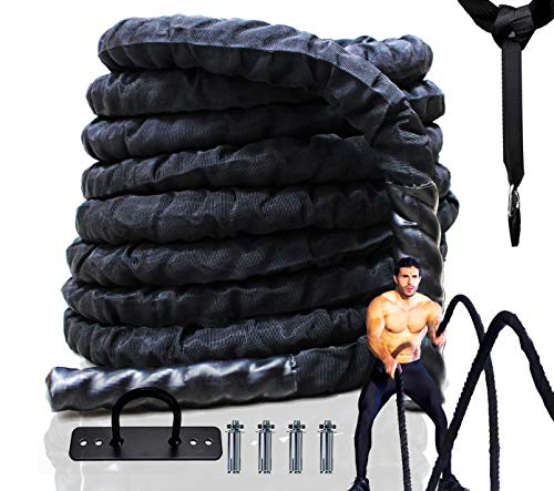 Best Companions 2 Inch Black Heavy Battle Rope with Protective Sleeve, 100% Dacron Exercise Equipment with Anchor Included, 40 ft Length Strength Training Ropes for Home Gym and Outdoor Workouts