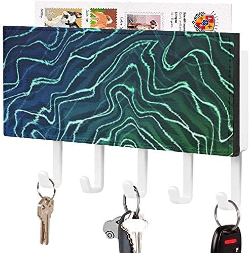 Soporte para llaves para gancho para llaves montado en la pared, Green Electric Aqua Waves, Soporte para correo de entrada a la pared, Estante organizador de llaves decorativo con 5 ganchos