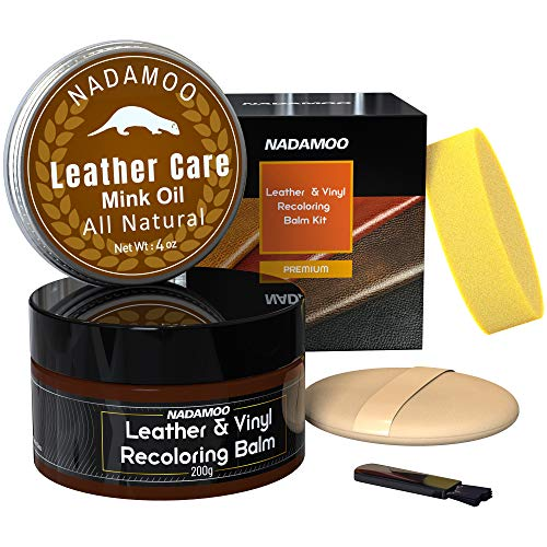 NADAMOO Dark Brown Leather Recoloring Balm with Mink Oil Leather Conditioner, Leather Repair Kits for Couches, Restoration Cream Scratch Repair Leather Dye for Vinyl Furniture Car Seat, Sofa, Shoes