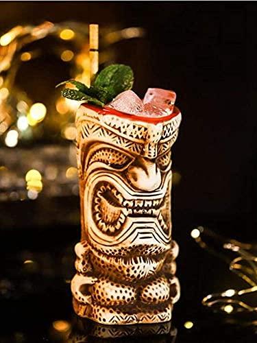 Decantador de Vino, Tiki Tazas Cóctel, Tiki Glasses Ceramic Hawaiian Cocktail Taza - Tiki Bar Tabho Professional Webware - Barra de Barware de la Fiesta de Hawai Barra de la Gran Barra de Inicio Idea