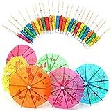 Paraguas de Cóctel,Decoración de Cóctel de Papel 50 Pack 10 cm Bebidas de Sombrillas para Cóctel Bebidas Tropicales Etiqueta de Frutas Etiqueta de Vino Colores Variados