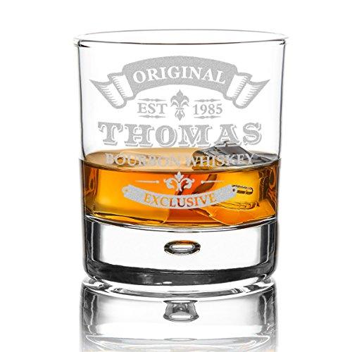 polar-effekt Whiskyglas Personalisiert 330 ml - Geschenk-Idee für Männer - Tumbler Whiskeyglas mit Gravur Name und Jahreszahl mit Motiv Original-Exclusive