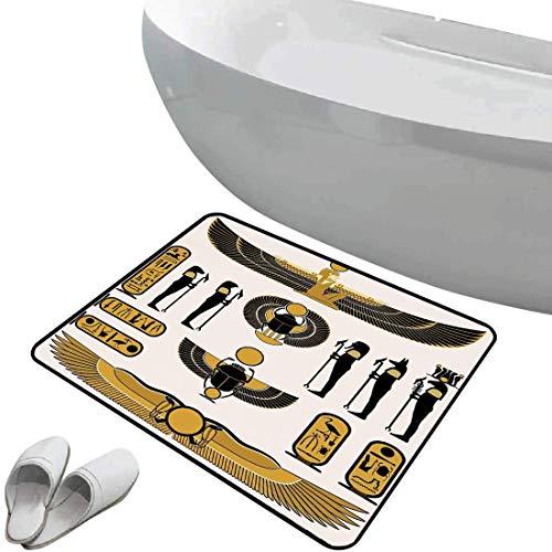 Tapis de bain antidérapant Décor égyptien Tapis de bain antidérapant doux zone sûre Ancien symbole historique de l'esprit égyptien mythique icônes illustration soleil art momie,jaune noir Paillasson C
