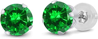 Gem Stone King 3.00 Ct Round 6mm Green Simulated Emerald 14K White Gold Stud Earrings