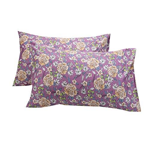 WBYCOTBED Violet Pillowcase Queen Size Set of 2 Decorative, 100% Cotton Botanical Prints Pillow Shams with Envelope Closure
