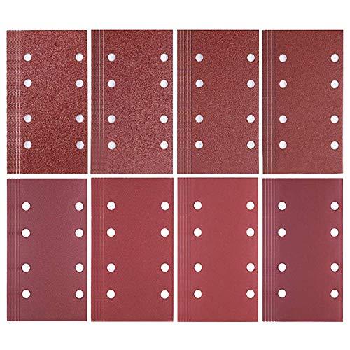 80 piezas de papel para lijadora de 93 x 185 mm Hojas de lija de gancho y bucle Punzonado 8 agujeros surtidos 40/60/80/120/180/240/320/400 Lijadora Bosch