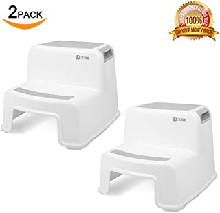 2 Step Stool for Kids (2 Pack)   Toddler Stool for Toilet Potty Training   Slip Resistant Soft Grip for Safety as Bathroom Potty Stool and Kitchen Step Stool   Dual Height & Wide Two Step   by TCube