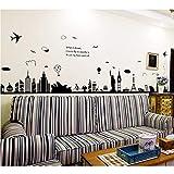 Etiqueta de la pared 90Cm * 60Cm Moda Torre Eiffel Sydney Ciudad griega Edificio Set DIY Pegatinas de pared Sala de estar Fondo Decoración Mural Decal Wallpaper
