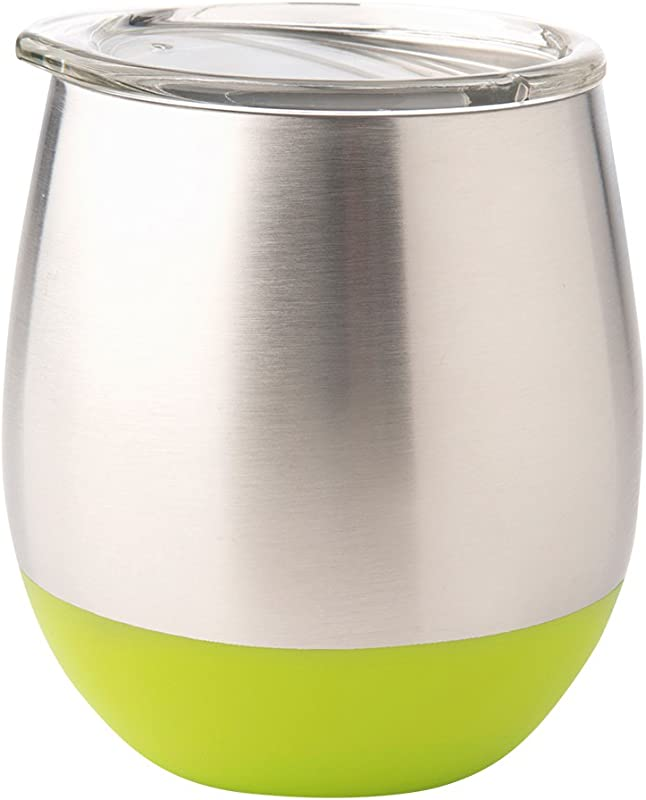 U Konserve Insulated Stainless Steel Wine Tumbler Keeps Beverages Hot Or Cold Environment Friendly Glassware Alternative To Breakable Glass 8 Oz Lime