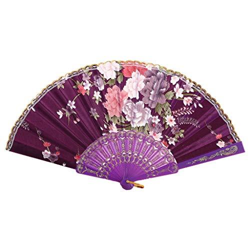 Kviklo Handfächer Faltseide Fächer Kunststoff Blume Geblümt Durchbrochene Kostüm Party Hochzeit Chinesisch/Japanisch Dekorationen(Violett,23cm)