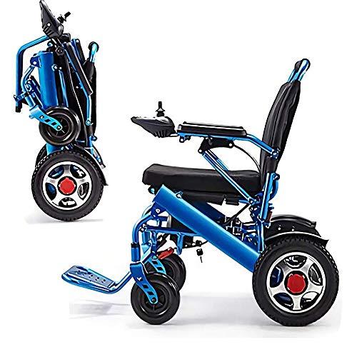 sZeao La Silla de Ruedas eléctrica más Fuerte Batería de Litio de Cuatro Motores Solo 14 Kg Ancianos discapacitados Scooter Plegable portátil Marco de Aluminio (B)