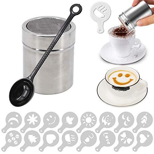 Saupoudreuse à chocolat avec 16 pochoirs à cappuccino et cuillère à grains de café, accessoires pour la cuisine, les boissons et la pâtisserie