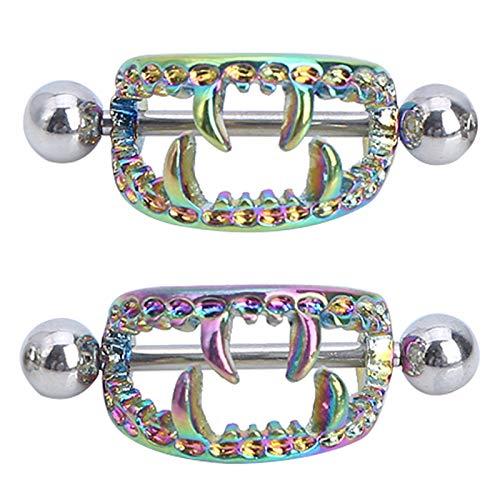 YOOJIA Novelty Devil Skull Breast Nipple Ring Stainless Steel Nipple Shield Rings Nipple Noose Barbell Nipplerings Body Piercing Jewelry Multicolor (2pcs) One Size