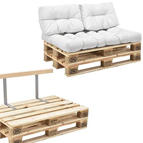 [en.casa] Canapé d'Angle en palettes Coussin Blanc 2-Places avec Palettes Rembourrage Appui - Modéle 2