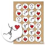 Herzmensch - 48 pegatinas de hombres con corazones, redondas, de 4 cm, en negro, rojo y blanco, para regalar a los invitados, para pegar en bolsas de papel, tarjetas para mesas